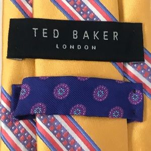 NWT Ted Baker Gold Pink Blue Purple Striped Tie